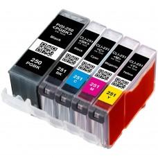 COMBO CANON PGI-250/CLI-251 BK/PBK/C/M/Y XL COMPATIBLE INKJET BLACK/PBK/C/M/Y CARTRIDGE