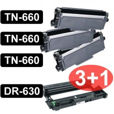 BROTHER 3-TONER TN660 CARTRIDGES AND 1- DRUM DR630 COMPATIBLE